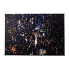 БЬЁРКСТА Картина с рамой, Огни Нью-Йорка, цвет алюминия Ikea
