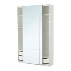ПАКС Гардероб, белый, Аули зеркальное стекло Ikea