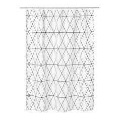 ФЁЛЬЙАРЕН Штора для ванной, белый черный, серый Ikea