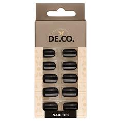Набор накладных ногтей DE.CO. ESSENTIAL black side 24 шт + клеевые стикеры 24 шт Deco