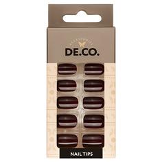 Набор накладных ногтей DE.CO. ESSENTIAL dark choco 24 шт + клеевые стикеры 24 шт Deco