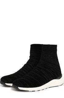 Высокие текстильные кроссовки на контрастной подошве Casadei