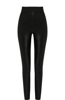 Кожаные брюки с эластичным поясом Dolce & Gabbana