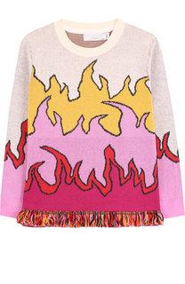 Хлопковый пуловер с принтом Stella McCartney