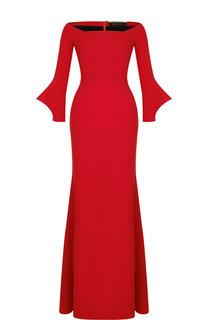 Однотонное платье-макси с вырезом-лодочка Roland Mouret