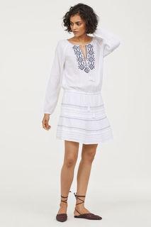 Хлопковое платье с вышивкой H&M