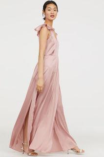Атласное платье макси H&M