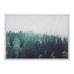 БЬЁРКСТА Картина с рамой, Кроны деревьев, цвет алюминия Ikea