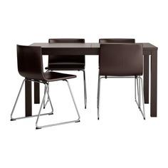 БЬЮРСТА / БЕРНГАРД Стол и 4 стула, коричнево-чёрный, Кават темно-коричневый Ikea