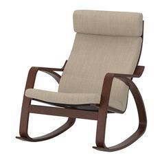 ПОЭНГ Кресло-качалка, коричневый, Хилларед бежевый Ikea