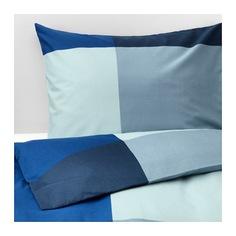 БРУНКРИСЛА Пододеяльник и 1 наволочка, синий, серый Ikea