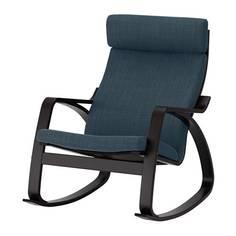 ПОЭНГ Кресло-качалка, черно-коричневый, Хилларед темно-синий Ikea