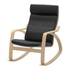 ПОЭНГ Кресло-качалка, березовый шпон, Смидиг черный Ikea