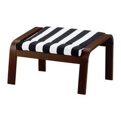 ПОЭНГ Табурет для ног, коричневый, Стенли черный/белый Ikea