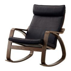 ПОЭНГ Кресло-качалка, коричневый, Смидиг черный Ikea