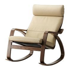 ПОЭНГ Кресло-качалка, коричневый, Глосе светло-бежевый Ikea