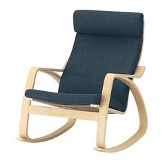 ПОЭНГ Кресло-качалка, березовый шпон, Хилларед темно-синий Ikea