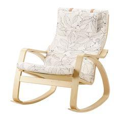 ПОЭНГ Кресло-качалка, березовый шпон, Висланда черный/белый Ikea