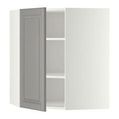 МЕТОД Угловой навесной шкаф с полками, белый, Будбин серый Ikea