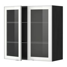МЕТОД Навесной шкаф с полками/2 стекл дв, черный, Ютис матовое стекло Ikea
