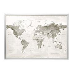 БЬЁРКСТА Картина с рамой, Планета Земля серый/белый, цвет алюминия Ikea