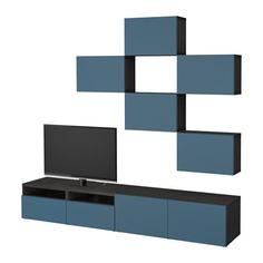 БЕСТО Шкаф для ТВ, комбинация, черно-коричневый, Вальвикен темно-синий Ikea