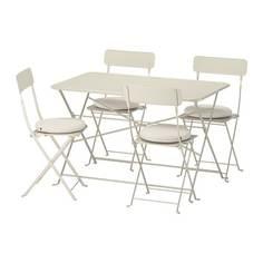 САЛЬТХОЛЬМЕН Стол+4 складных стула, д/сада, бежевый, ФРЁСЁН/ДУВХОЛЬМЕН бежевый Ikea