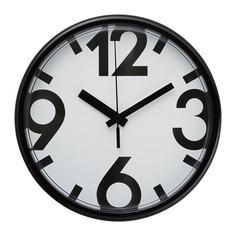 ЮККЕ Настенные часы, белый, черный Ikea