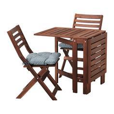 ЭПЛАРО Стол+2 складных стула,д/сада, коричневая морилка, Иттерон синий Ikea