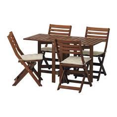 ЭПЛАРО Стол+4 складных стула, д/сада, коричневая морилка, Холло бежевый Ikea