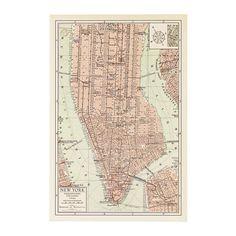 БИЛЬД Постер, Карта Манхэттена II Ikea