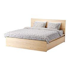 МАЛЬМ Высокий каркас кровати/4 ящика, дубовый шпон, беленый, Лурой Ikea
