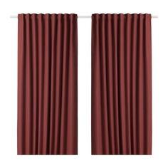 АННАКАЙСА Гардины, блокирующие свет, 1 пара, коричнево-красный Ikea