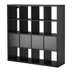 КАЛЛАКС Стеллаж с 4 вставками, черно-коричневый Ikea