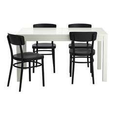 БЬЮРСТА / ИДОЛЬФ Стол и 4 стула, белый, черный Ikea