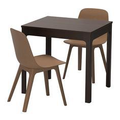 ЭКЕДАЛЕН / ОДГЕР Стол и 2 стула, темно-коричневый, коричневый Ikea