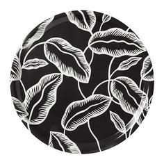 АВСИКТЛИГ Поднос, черный, белый лист Ikea