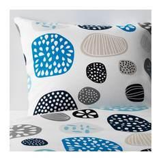 РИНГКРАГЕ Пододеяльник и 2 наволочки, синий белый, разноцветный Ikea