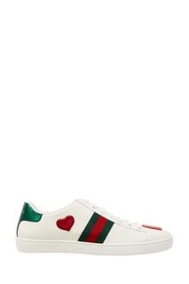 Белые кеды с контрастной отделкой Gucci