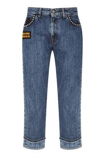 Укороченные джинсы с отделкой Miu Miu