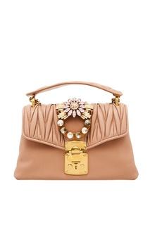 Розовая сумка с отделкой кристаллами Miu Miu