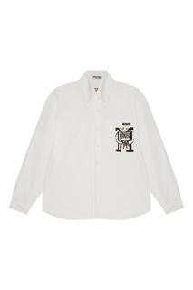 Белая рубашка с контрастным принтом Miu Miu