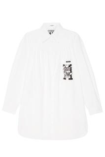 Белое платье-рубашка с принтом Miu Miu