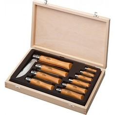 Набор складных ножей Opinel VRN Carbon Tradition из 10 штук в деревянном кейсе (карбоновая сталь, рукоять бук, длина клинка 3,5-12 см)