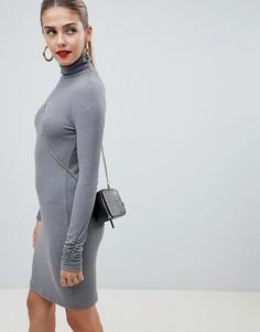 Платье мини с длинными рукавами ASOS DESIGN - Серый