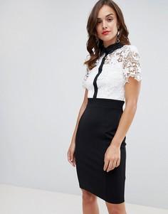 Черно-белое платье-футляр 2 в 1 с кружевной отделкой кроше и контрастным воротником Paper Dolls - Мульти