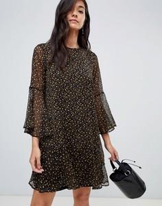Платье миди с цветочным принтом и оборкой на подоле Y.A.S - Мульти