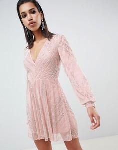 Короткое приталенное платье с отделкой бисером и пышными рукавами на манжетах ASOS EDITION - Мульти