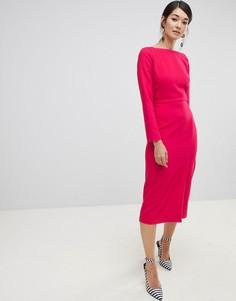 Платье-футляр с разрезом Closet London - Розовый