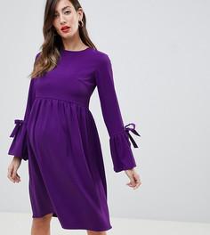 Фиолетовое приталенное платье с длинными рукавами Queen Bee - Темно-синий